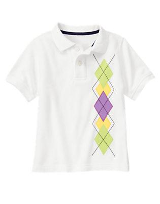 Boys White Argyle Pique Polo Shirt by Gymboree