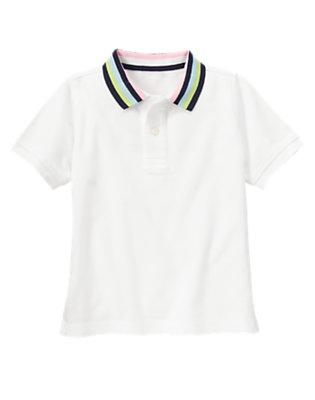 White Stripe Collar Pique Polo Shirt by Gymboree