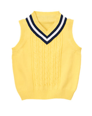 Snapdragon Yellow Tipped Cable Sweater Vest by Gymboree