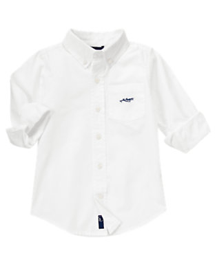 White Airplane Pocket Shirt by Gymboree