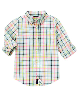 Pink Plaid Tattersall Shirt by Gymboree