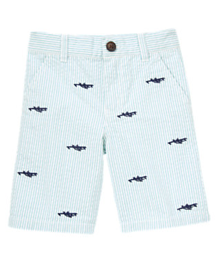 Cloud Blue Stripe Airplane Embroidered Stripe Seersucker Short by Gymboree