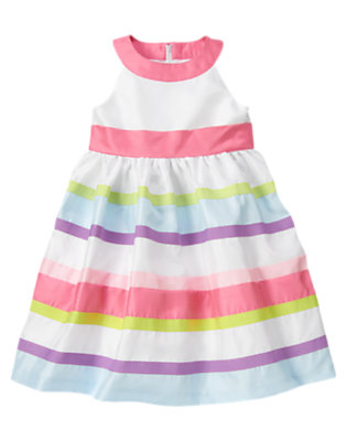 Girls White/Peony Pink Ribbon Stripe Duppioni Dress by Gymboree