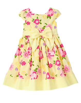 Girls Yellow Buttercup Flower Bow Dress by Gymboree