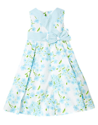 Girls Blue Blossom Blossom & Gingham Bow Dress by Gymboree