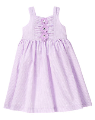 Purple Posy Gem Flower Stripe Seersucker Dress by Gymboree