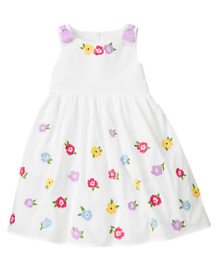 Girls White Bow Embroidered Flower Dress by Gymboree