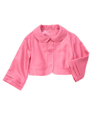 Girls Peony Pink Duppioni Crop Jacket by Gymboree