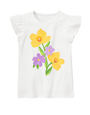 White Gem Bead Daffodil Violet Tee by Gymboree