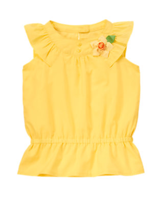 Girls Daffodil Yellow Daffodil Ruffle Dobby Top by Gymboree