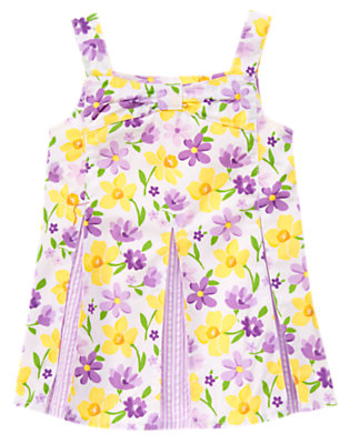 White Violet Daffodil Violet Pleated Top by Gymboree