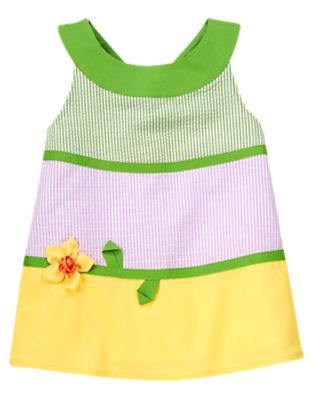 Girls Spring Green Stripe 3-D Daffodil Stripe Seersucker Top by Gymboree