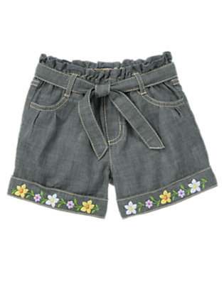 Girls Chambray Flower Cuff Belted Chambray Short by Gymboree