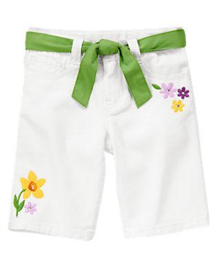 White Gem Flower White Denim Bermuda Short by Gymboree