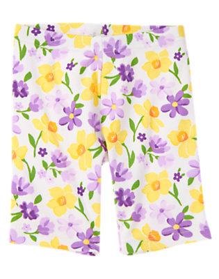 Girls White Violet Daffodil Violet Bike Short by Gymboree