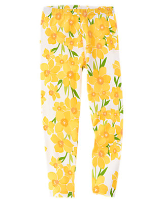 Girls White Daffodil Daffodil Legging by Gymboree