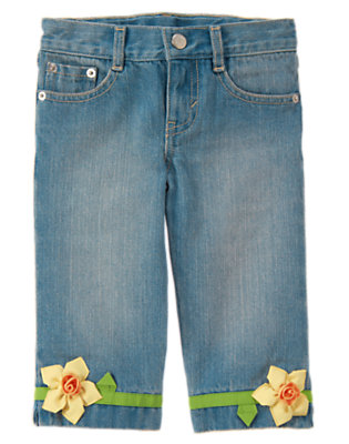 Girls Denim 3-D Daffodil Capri Jean by Gymboree