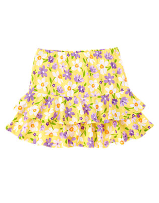 Girls Yellow Violet Daffodil Violet Tiered Skort by Gymboree