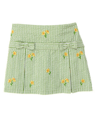 Girls Spring Green Daffodil Stripe Seersucker Skort by Gymboree