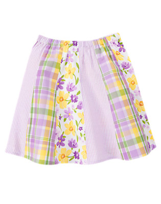 Girls Purple Posy Plaid Flower Plaid Seersucker Mixed Print Skirt by Gymboree