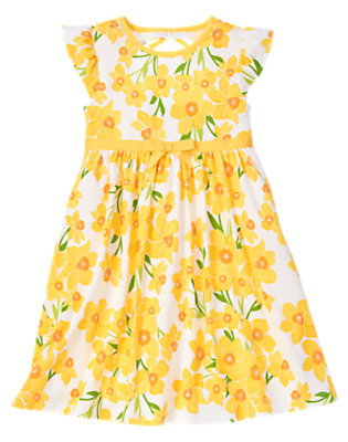 Girls White Daffodil Bow Daffodil Dress by Gymboree