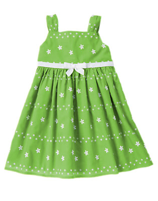 Girls Spring Green Bow Flower Embroidered Dress by Gymboree