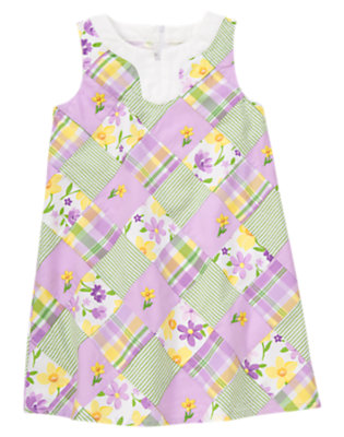 Girls Purple Posy Patchwork Embroidered Flower Patchwork Dress by Gymboree
