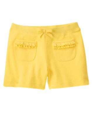 Girls Daffodil Yellow Ruffle Pocket Short by Gymboree