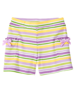 Girls Purple Posy Stripe Stripe Bow Pocket Short by Gymboree