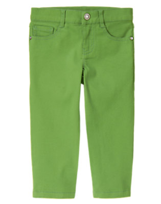 Girls Spring Green Rhinestud Capri Pant by Gymboree