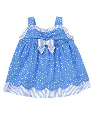 Baby Blue Bubbles Dot Dot Stripe Top by Gymboree