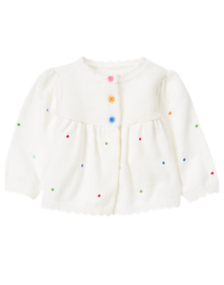 Baby White Embroidered Dot Cardigan by Gymboree