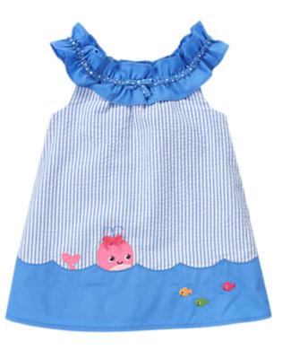 Baby Blue Bubbles Stripe Whale Stripe Seersucker Dress by Gymboree