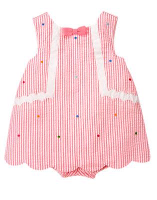 Baby Bubblegum Pink Stripe Dot Stripe Seersucker One-Piece by Gymboree