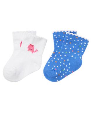 White/Blue Bubbles Dot Whale Dot Sock Two-Pack by Gymboree