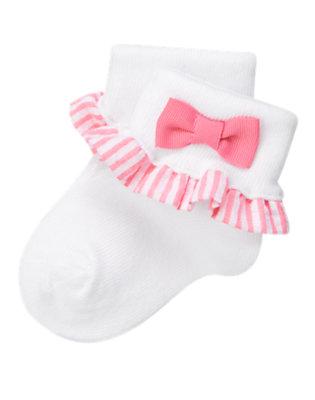 Baby White Stripe Seersucker Ruffle Sock by Gymboree