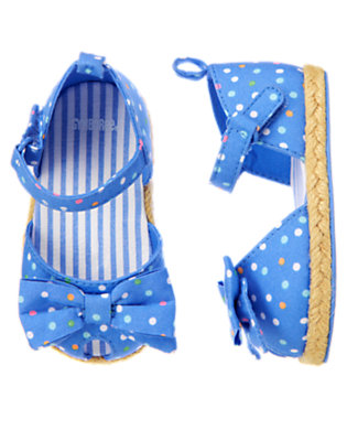 Baby Blue Bubbles Dot Dot Espadrille Crib Shoe by Gymboree