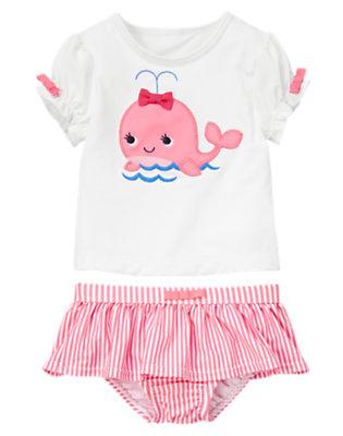 White/Bubblegum Pink Stripe Whale Rash Guard Set by Gymboree