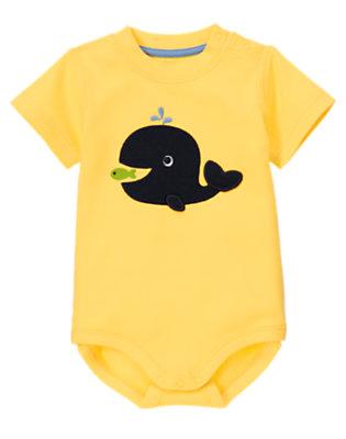 Nautical Yellow Whale Flipper Bodysuit by Gymboree