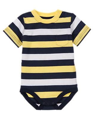 Nautical Yellow Stripe Pocket Stripe Bodysuit by Gymboree
