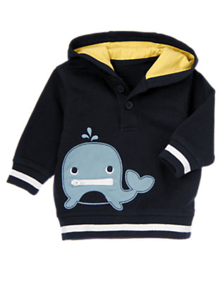 Navy Whale Hooded Pullover by Gymboree
