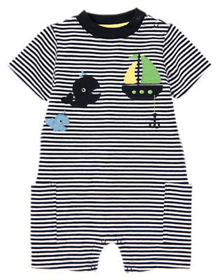 Navy Stripe Whale Stripe One-Piece by Gymboree