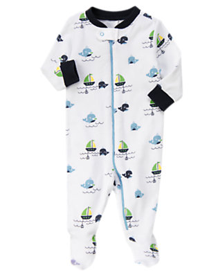Blue Whale Whale Footed One-Piece by Gymboree