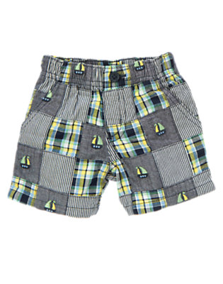 Baby Navy Patchwork Sailboat Patchwork Short by Gymboree