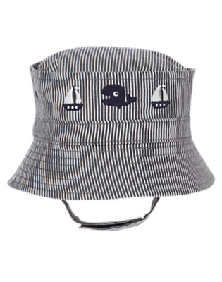 Baby Navy Ottoman Stripe Sailboat Ottoman Stripe Hat by Gymboree