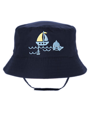 Baby Navy Whale Reversible Swim Hat by Gymboree