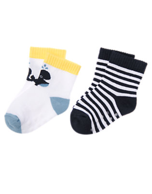 White/Navy Whale Stripe Sock Two-Pack by Gymboree