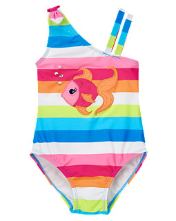 Gem Fish Stripe One-Piece Swimsuit
