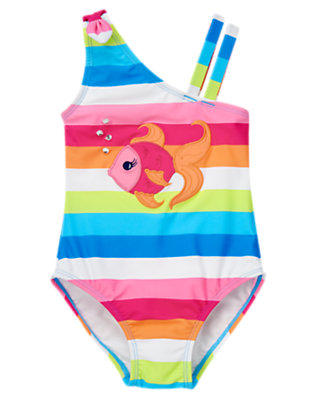 Girls Rainbow Stripe Gem Fish Stripe One-Piece Swimsuit by Gymboree
