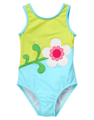 Blue Wave Flower Colorblock One-Piece Swimsuit by Gymboree